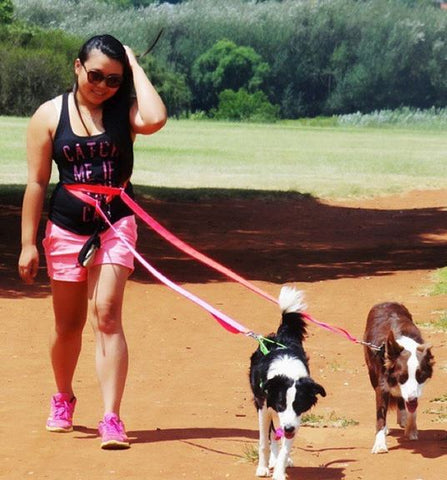 lady walking dogs with sportleash healthy living