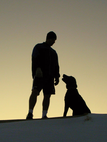 man with dog mans best friend shadow