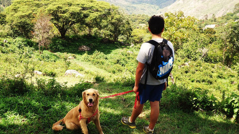 young man with dog hiking mans best friend
