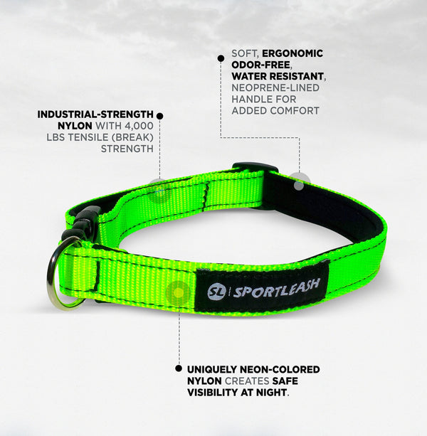 SportLeash Neoprene Dog Collar Annotated