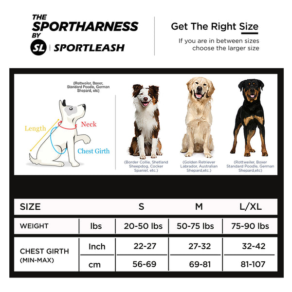 SportLeash Best Dog Harness Big Dog Harness SportHarness Size Chart