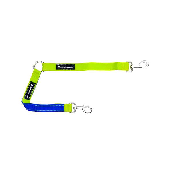 Dog Leash Coupler Splitter - Neon Yellow Royal Blue SportLeash