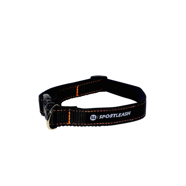 Black Neon Orange Neoprene Dog Collar