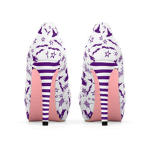Load image into Gallery viewer, Women's Purple Witch Halloween Platform High Heel Shoes