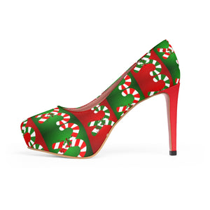 Women's Christmas Candy Cane Platform High Heel Shoes