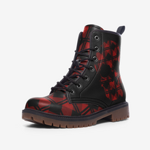 Load image into Gallery viewer, Red Tartan Skull Lightweight Leather Winter Boots
