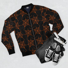 Load image into Gallery viewer, Black and Orange Spider Web Bomber Jacket