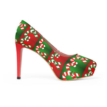 Load image into Gallery viewer, Women's Christmas Candy Cane Platform High Heel Shoes