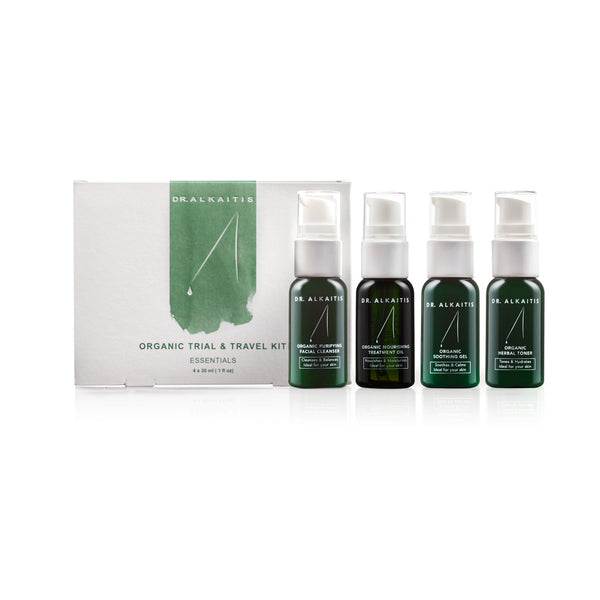 Dr. Alkatis Organic Trial & Travel Kit with sizes that are ideal for traveling.