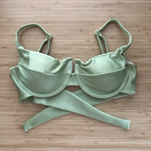 Load image into Gallery viewer, Olive Green Panneled Bikini Top