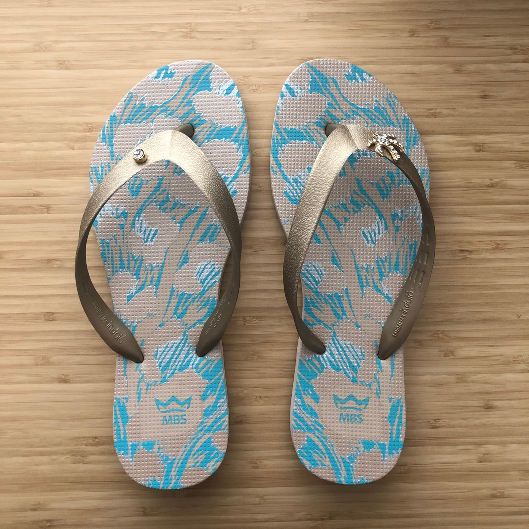 Turquoise & Gold Flip Flops