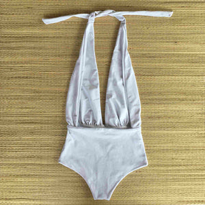 Ribbed White One Piece Bodysuit
