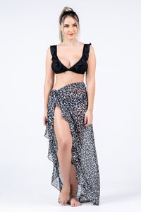 Mesh Animal Print Skirt Pareo