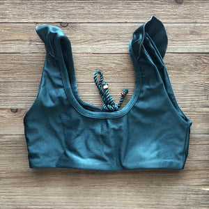 Dark Green Andie Crop Bikini Top