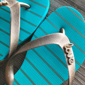 Natural Rubber Flip Flops Acqua Green Love Crystal Accessory