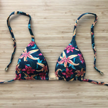 Load image into Gallery viewer, Dark Floral Triangle Bikini Top