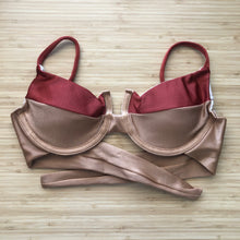 Load image into Gallery viewer, Copper & Beige Panelled Bra Bikini Top