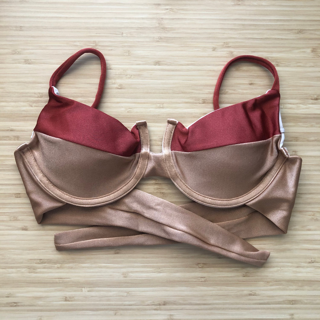 Copper & Beige Panelled Bra Bikini Top