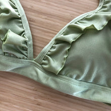 Load image into Gallery viewer, Olive Green Triangle Frill Bikini Top