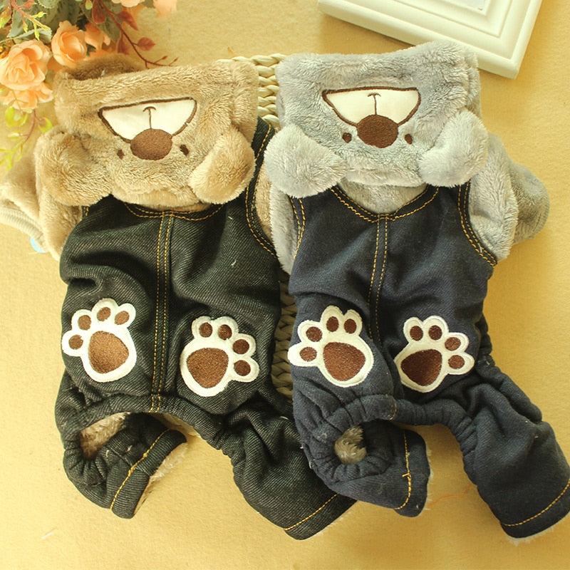 Fleece Winter Pet Dog Jumpsuit For Small Dogs