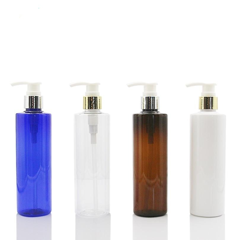 cream  bottle with Shinny golden aluminum shell shampoo lotion dispenser pump