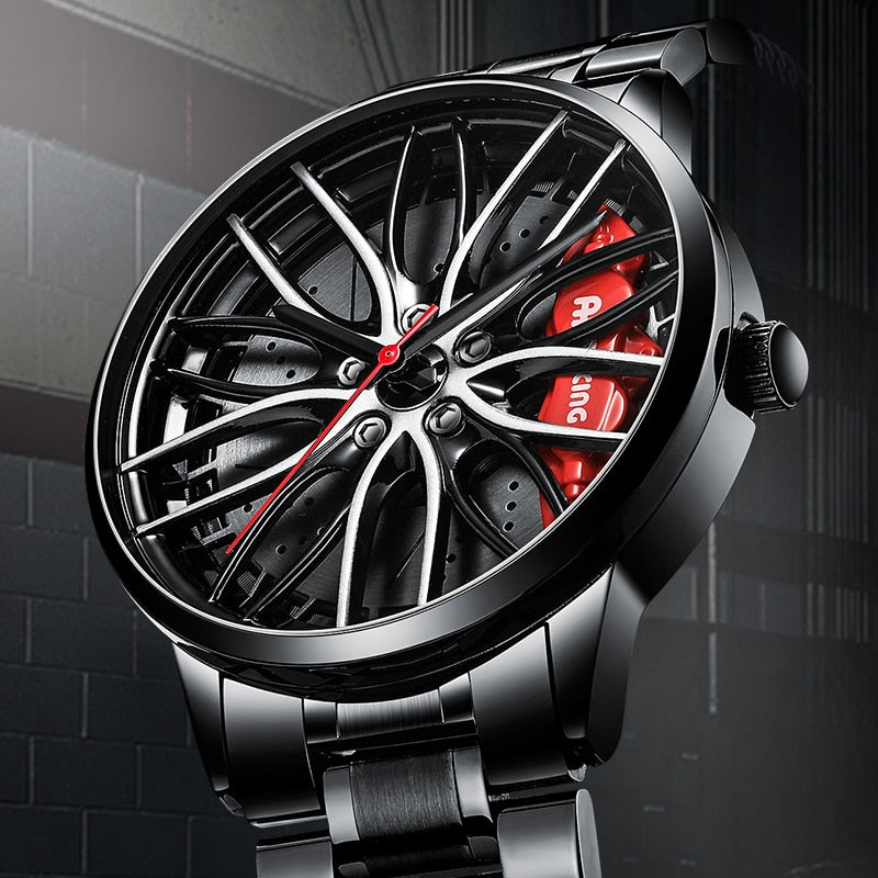 Sports Car Wheel Rim Hub Watches Men