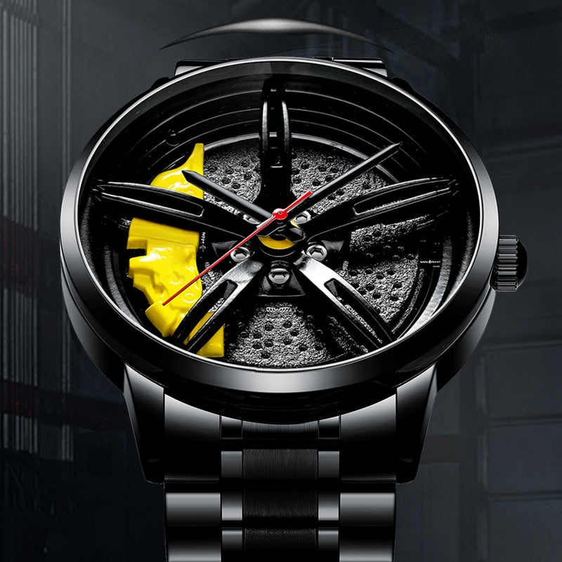 Men Watch Sports Car Watch Wheel Rim Design - rockabilly.store
