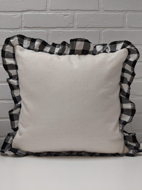 Linen cushion cover 16x16 with black plaid ruffle-Sublimation Blank-Elliott Creations