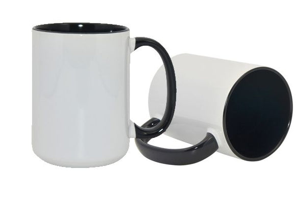 15 oz Mug for Sublimation Case of 36 black inner and handle-Sublimation Blank-Elliott Creations