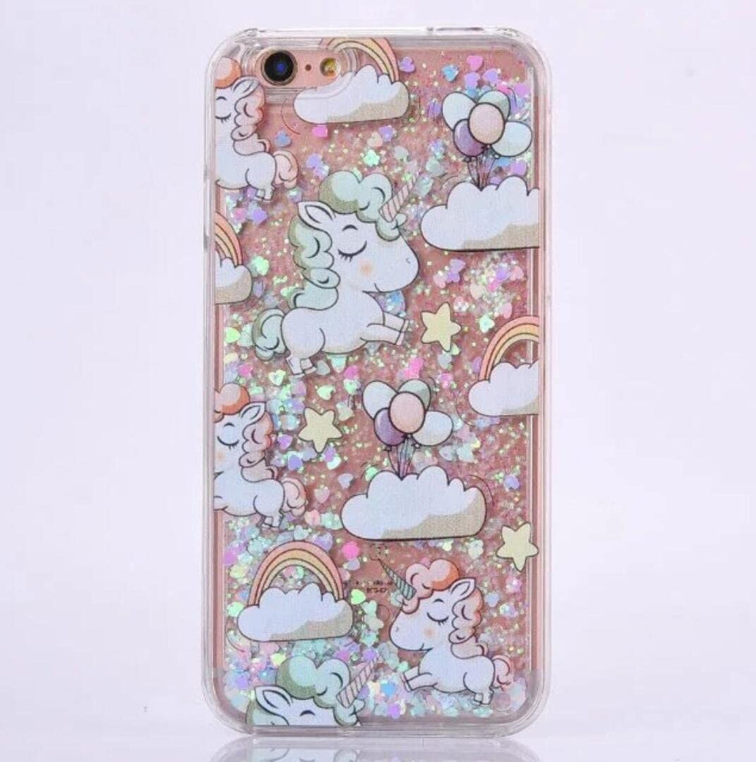 1pc. Liquid Glitter Unicorn Iphone coque