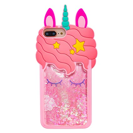 3D Liquid  Glitter Unicorn iPhone coque