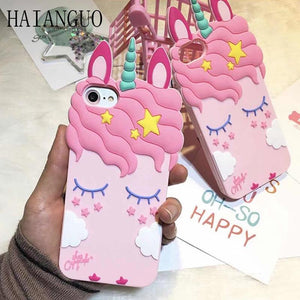 3D Pink Sleeping Unicorn Phone coque