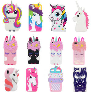 3D unicorn soft silicone coque for