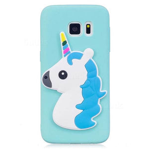Blue Hair Unicorn Soft 3D Silicone coque