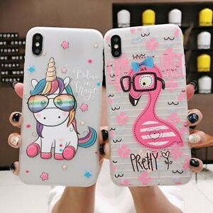 Cartoon Flamingo and Unicorn coques for