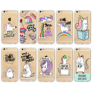 Clear TPU Cute Rainbow Unicorn coques
