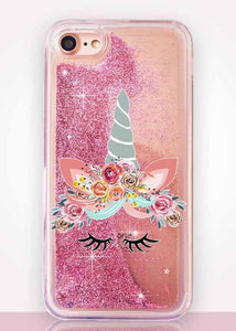 Clear Unicorn Glitter iPhone coque for