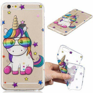 Cute Unicorn Pattern TPU Relief coque