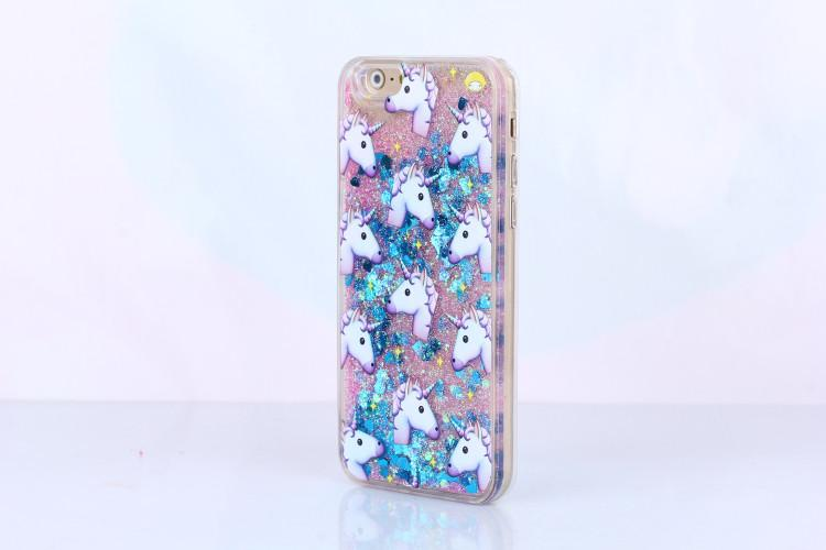 Emoji Unicorn Glitter Hearts Phone coque