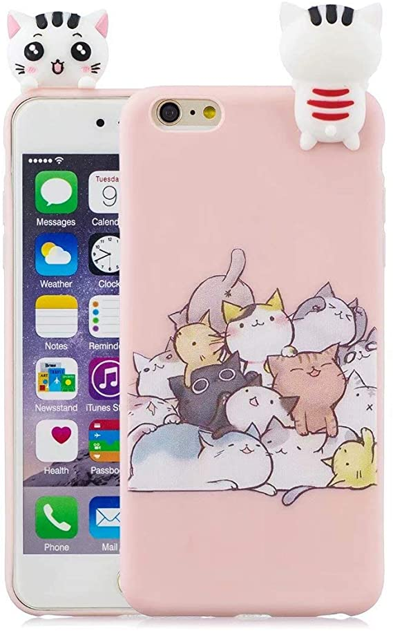 For iPhone 6s 6 Plus coque Cute 3D Soft