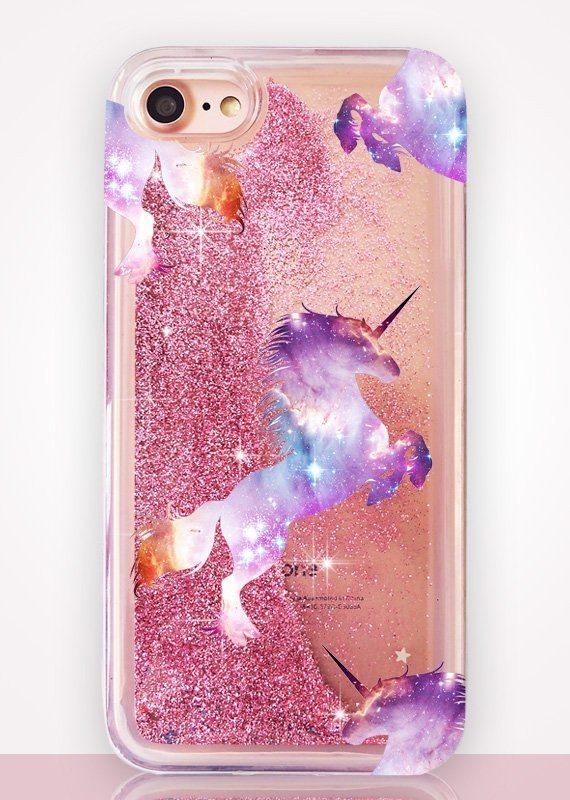 Glitter Unicorn Phone coque Pink coque