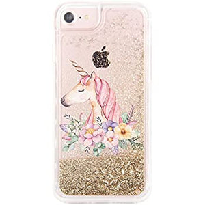 Liquid Glitter Unicorn coque(Gold Iphone