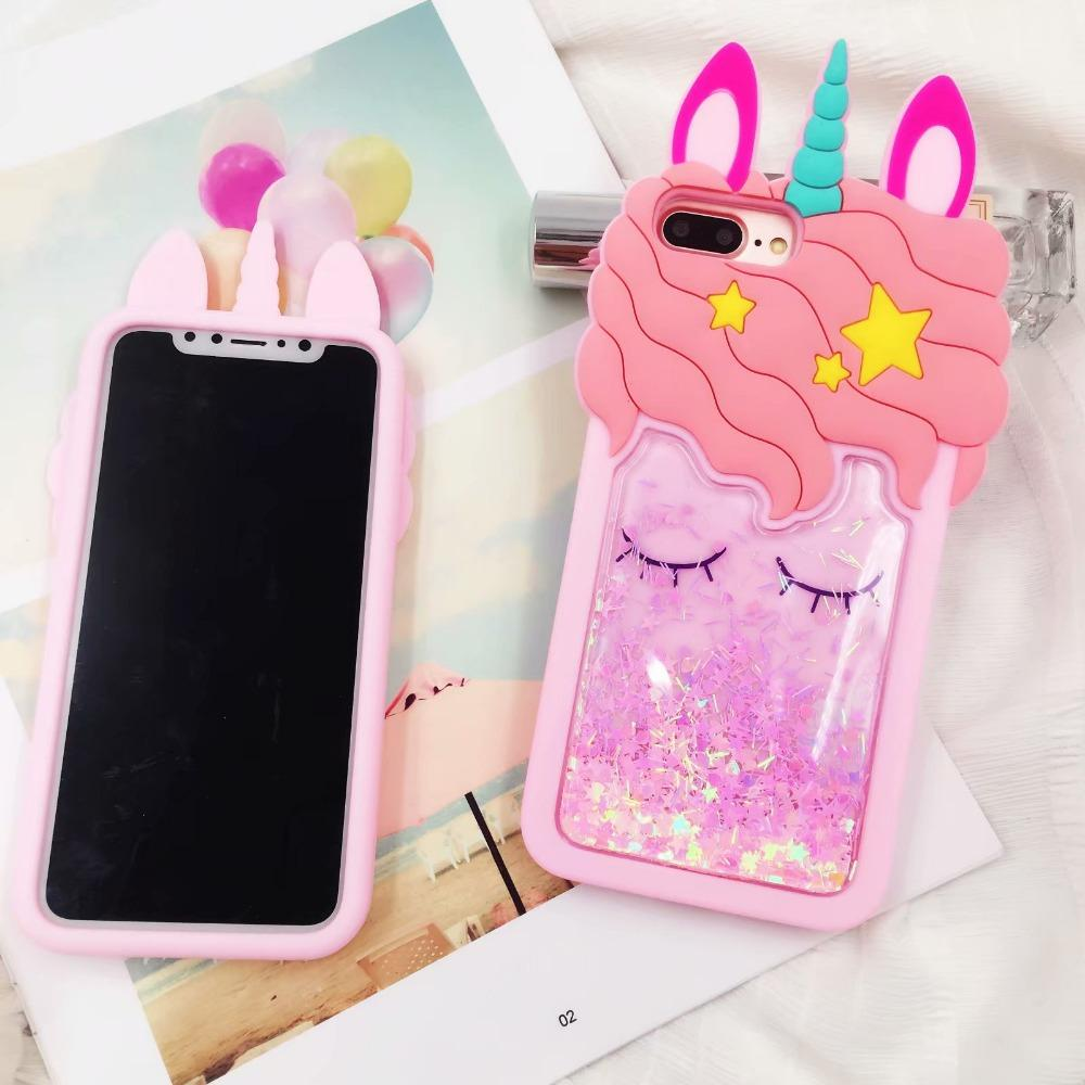 Liquid Glitter Unicorns iPhone coque