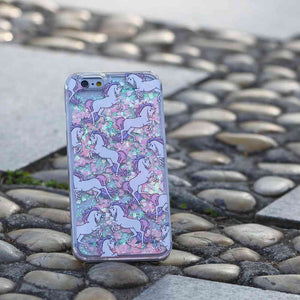 Pink Glitter Unicorn IPhone coque For SE