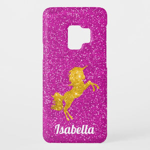 Pink Glitter and Gold Unicorn coque-Mate