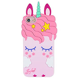 Pink Silicone Unicorn iPhone 7 coque