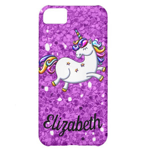 Purple Glitter Unicorn coque-Mate