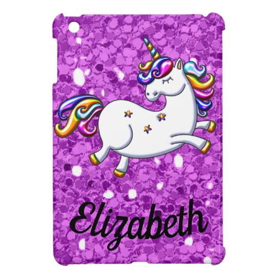 Purple Glitter Unicorn coque For The