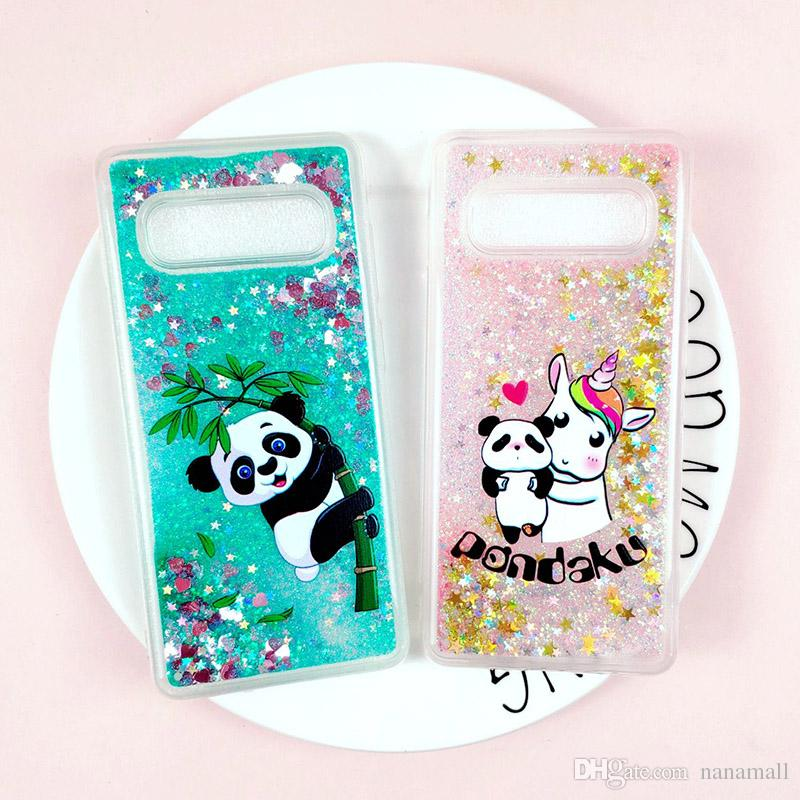 S10 Panda Liquid coque Glitter Unicorn