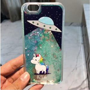 Space Glitter Unicorn coque